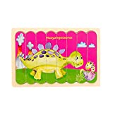 1 Piece Dinosaur Wooden Toddler Double-Sided Puzzles Gifts Toys, 4 Patterns Peg Puzzle Preschool Learning Educational Toys for Toddlers Kids Boys Girls Age 2+ Years Old (Kentrosaurus)