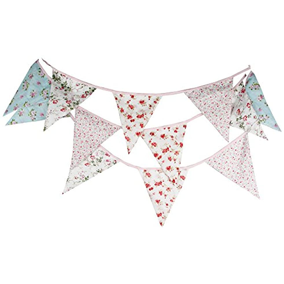 INFEI 3.5M/11.5Ft Multicolored Rural Floral Triangle Flags Fabric Banner Bunting Garlands for Wedding, Birthday Party, Outdoor & Home Decoration (Pink & Blue)