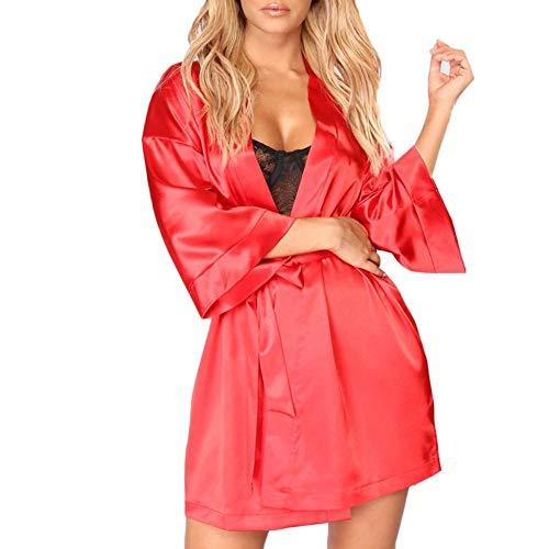 Ropa De Dormir Sexy Mujer Bata De Kimono De Seda Albornoz para Mujer Batas De Dama De Honor Batas Sexys Bata De Satén Camisón para Mujer Pijamas Regalo De San Valentín, Rojo, XL