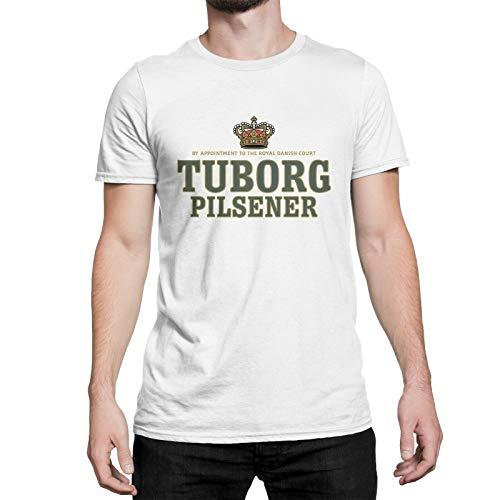 Tuborg Pilsener Herren Print T-Shirt Baumwolle Sommer atmungsaktives Kurzarm-Mode-Top für Hochzeitsschulen Outdoor Party Fitness