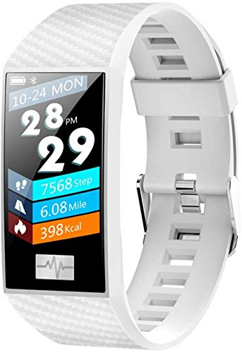 Reloj inteligente Bluetooth impermeable con monitor de frecuencia cardíaca, pantalla táctil de color grande, presión de oxígeno en sangre, pulsera inteligente rastreador de actividad-blanco