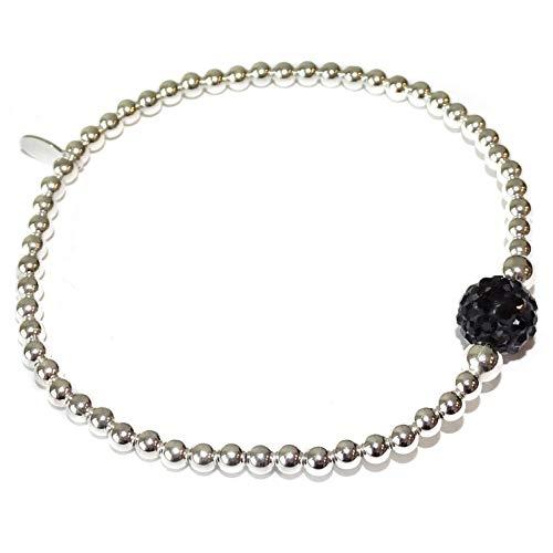 Zilveren Armband met Zwart Strass Bolletje