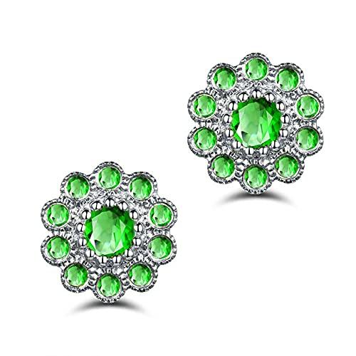 KnSam Pendientes redondos para mujer, plata de ley 925, plata de ley 925, anillo de boda verde plata para mujer