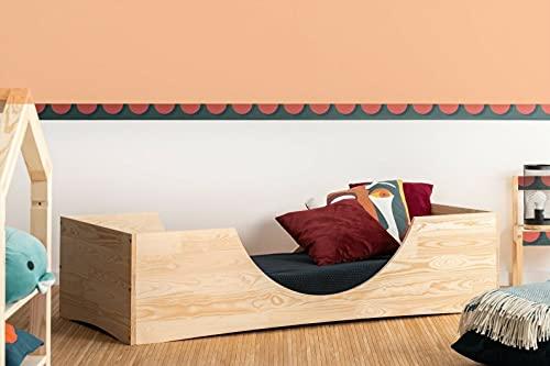 Mami | Cama para niños | Cuna Montessori Mezzaluna | Colchón Smart (no incluido) Altura niño | Color madera natural | Grabado personalizado con frase