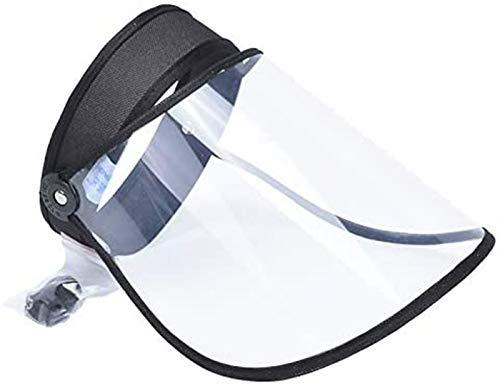 DAPENF Doorzichtige gelaatsscherm Beschermende hoed, Anti-speeksel zonnekap, Herbruikbare antispat hoed, Anti-condens strandvizier Lege bovenkap,Black