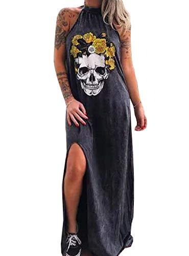 Vestido Informal para Mujer Túnica con Estampado De Calavera Sin Mangas Vestidos Largos De Playa De Verano con Abertura Alta