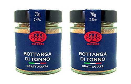 Geraspte Geelvintonijn Bottarga Su Tianu Sardu – 2 verpakkingen van 70g – Handgemaakt in Sardinië, Italië – Gezouten en…