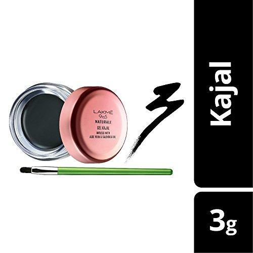 Lakme 9-5 Naturale Gel Kajal - Schwarz - 3 g