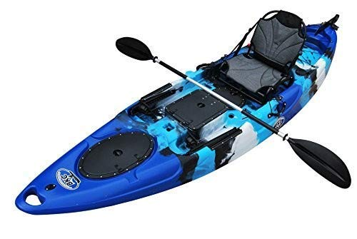 BKC RA220 11.6' Single Fishing Kayak W/Upright Back Support Aluminum Frame Seat, Paddle, Rudder...