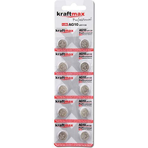kraftmax 10er Pack Knopfzelle Typ 389 (AG10 / LR1130 / LR54) Hochleistungs- Batterie / 1,5V Uhrenbatterie für professionelle Anwendungen - Neuste Generation