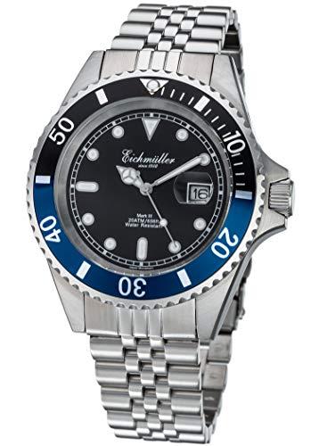 Taucheruhr Silber Lupe Herren Armbanduhr Taucher Uhr Edelstahl 20 ATM Miyota 2115 (Blau)