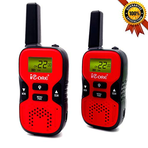 iCore Walkie Talkies for Kids,22 Channel Long Range 2 Way Radio 3 Miles Kids Toys, Best Gifts for Boys Girls Outside Adventure, Camping, Hiking, Children Birthday Present Outdoor Games (Red)