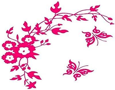 Nema NM Butterfly Flower Bathroom Wall Sticker - Rose Pink