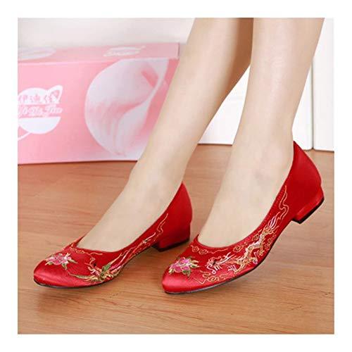 YXCUIDP Tacones rojos de novia estilo chino bajo superficiales de las mujeres...