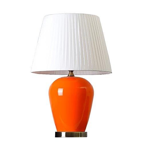 Jack Mall Moderno minimalista arancione rosso Jingdezhen lampada da tavolo in ceramica melone vaso creativo soggiorno camera da letto lampada da comodino (Colore : Bianca)