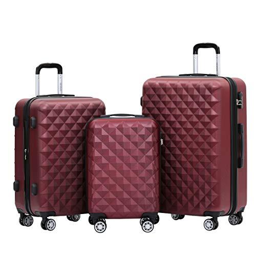 BEIBYE Zwillingsrollen 2066 Hartschale Trolley Koffer Reisekoffer Gepäck M-L-XL-Set (Weinrot, Set)