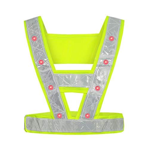 ZWW High-Hellness-LED-Konstruktion Reflektierende Weste Schutzsicherheit Reflektierende Kleidung für BAU/Radfahren/Nacht (Color : Fluorescent Yellow, Größe : Battery)