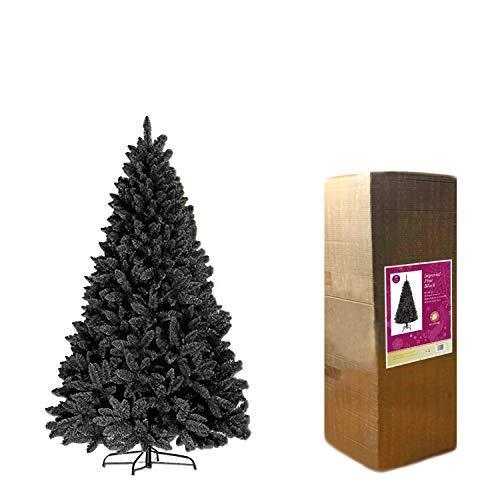 SHATCHI Pine Big Bushy-Albero di Natale in legno di pino imperiale di alta qualità, decorazione per la casa, facile da montare, 730 punte, 180 cm, 1,8 m, Nero, 182 cm, 3542-CHRISTMAS-TREE-BLACK-6FT