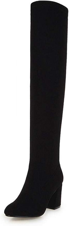 Hoxekle Knee High Boots Mid Heel Concise color Thick Heel Women Winter Warm Outdoor Boot