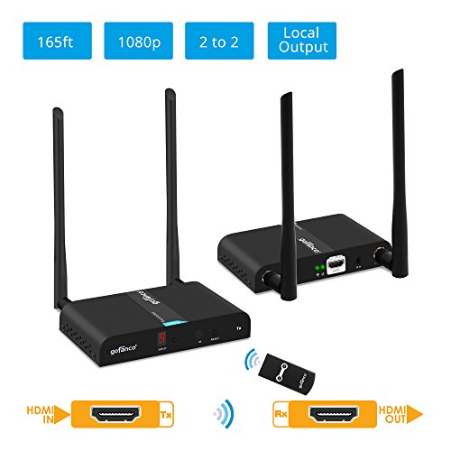 gofanco 2x2 Capable 1080p Wireless HDMI Extender at 165ft (50m) [Expandable Up to 2x2 Tx & Rx] with HDMI Loopout on TX, Dual Antenna, 5GHz, 10 Channels, IR Extension, Video TV (HDwirelessMulti)