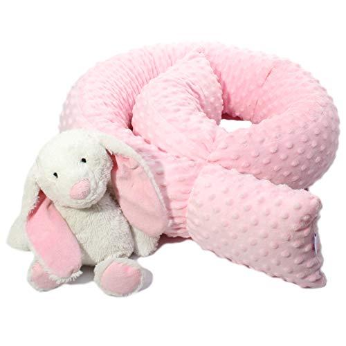 Bettschlange Bettrolle Nestchen Nestchenschlange Nackenrolle Babynest Bettumrandung Zugluftstopper Kissenrolle Babynestchen Minky 140 180 210 250 300 cm Hersteller (210 cm, Pink)