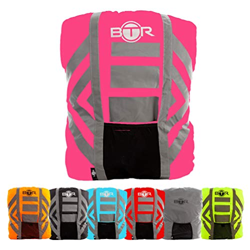 BTR Backpack Cover 100% Waterproof & High Visibility. High Viz Rucksack Cover With Reflective Tape. Large. Pink