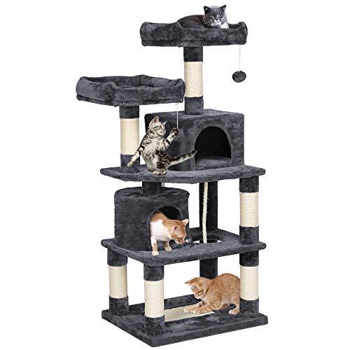 Yaheetech XXL Kratzbaum Kletterbaum für Katzen mit 2 Katzenhäusern 2 Plattformen Dunkelgrau