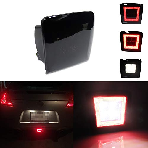 Miniclue Smoked Lens Full LED Rear Bumper Fog Light Compatible with 2009-2019 370Z, For 2013-2017 Juke Nismo