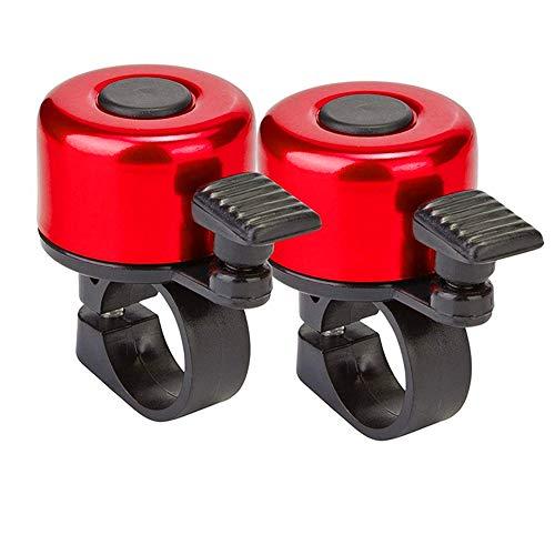 DTnewsun 2 Mini Fahrradglocke,Fahrrad Klingel sehr klarer Klang - Premium Fahrradglocke für Mountainbike Rennrad - Klingel Glocke Ring (rot)