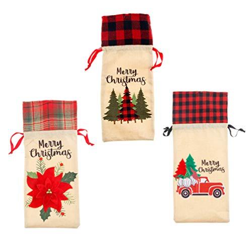 WINOMO Weihnachten Weinflasche Abdeckung Sackleinen Flasche Beutel mit Weihnachtsbaum Weihnachtsstern Blumenflasche Skandinavischen Tomte GNOME Jute Seil Flasche Taschen für Weihnachten
