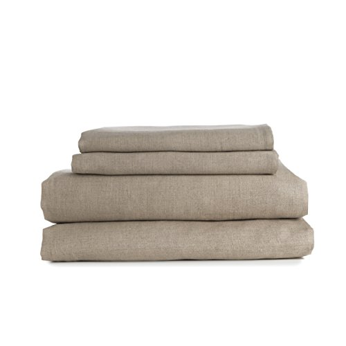 European Made Pure Linen Sheets Set (Flat, Fitted and 2 Pillowcases). 100% Fine Organic and Natural Flax (King, Natural)
