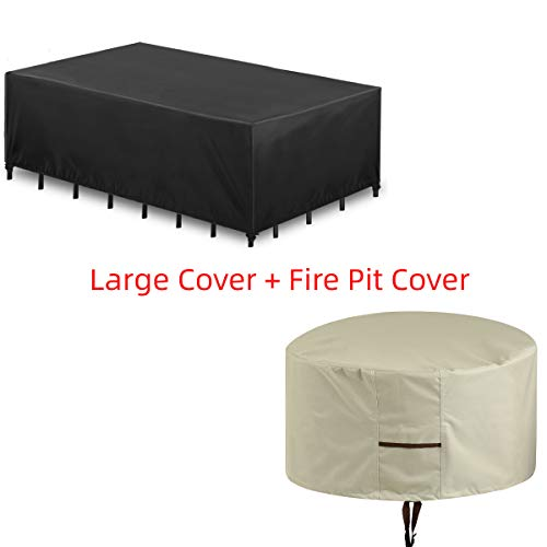 Essort Large Patio Furniture Cover and Outdoor Fire Pit Cover Combo, Waterproof Garden Protective Cover, Rain Snow Dust Wind-Proof, Anti-UV