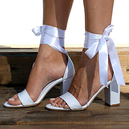 WNRGD Sandalias para Mujer Abierta Zapatos de Verano Tacones Altos Zapatos de Vestir para Damas Fiesta Boda,Blanco,EU42