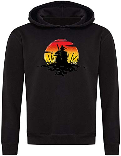 Samurai In A Battle Field Minimalistic Silhouette Unisex Pullover Hoodie Large