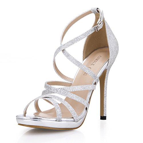 CHMILE CHAU-Scarpe da Donna-Sandali Tacco Alto a Spillo-Nuziale-Sposa-Eleganti-Moda-Partito-Cinturino alla Caviglia-Piattaforma 1cm