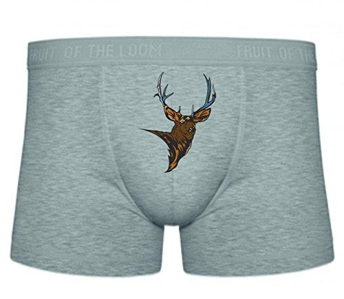 Druckerlebnis24 Boxershort Hirsch Elch Geweih Kopf Wald Berge Wildnis jagen Geweihträger S- XXL Sexy Unterhose Slip Shorts