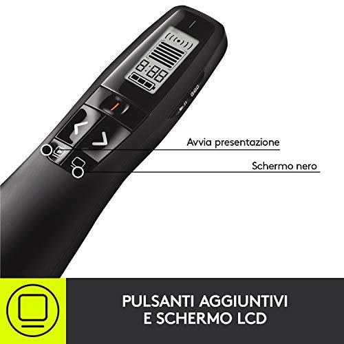 Logitech R700 Puntatore Laser Per Presentazioni Wireless, 2.4 GHz con Ricevitore USB Nano, Pointer Laser Rosso, Campo Operativo da 30 Metri, Display LCD per Rilevare Tempo, 6 Pulsanti, per PC, Nero