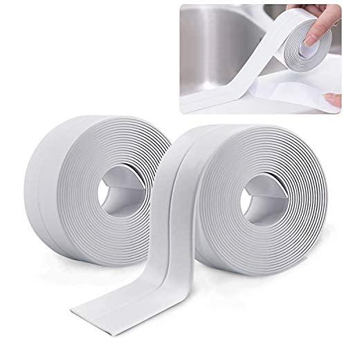2 Rotoli 3.3m Sigillante Autoadesivo Nastro,Sigillante per Pareti Caulk Strip,Striscia di Tenuta per Bordo Vasca da Bagno Toilette Cucina (bianco)