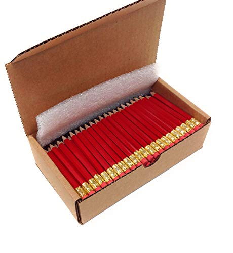 Musgrave Pencil, Half Pencils with Eraser, Golf Events School Church Library Pencil, Hexagon, Number 2, Sharpened, Box of 144, Red