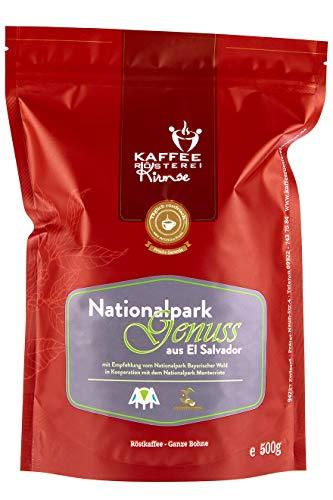 Kaffeerösterei Kirmse I Kaffee Nationalparkgenuss I 500g I Kaffee aus El Salvador I Kaffeeprojekt I Kaffee ganze Bohnen I Handverlesen I Fair gehandelt I Schonend geröstet I Wenig Säure