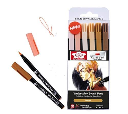 Manga Sakura Koi Coloring Brush Pen 6 Toneladas retrato de Stylo de Brosse. Plumas de pincel de acuarela. Hecho en Japón
