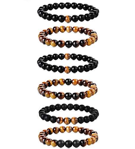 Milacolato 6 Pcs 8mm Bracelets Pierre Homme en Oeil De Tigre pour Femmes Pierre Naturelle Yoga Agate Élastiques Bracelets