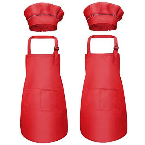 4 Piezas Rojo Niños Delantal y Gorro de Cocinero, Infantil Delantal con 2 Bolsillos para Niñas, Ajustable Niñito Delantales de Cocina Chef para Cocinar Hornear Pintura Artesanía (7-13 Años)
