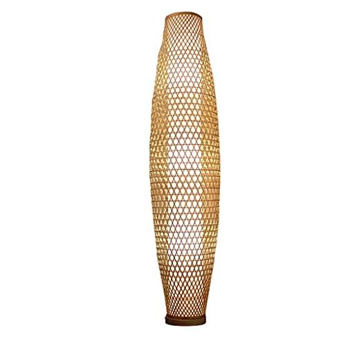 Lámparas de pie para el hogar, Tejido a Mano de bambú del Hotel Corredor de iluminación de la iluminación de la lámpara de Mesa Vertical, lámparas de pie Estilo japonés (Color : A)