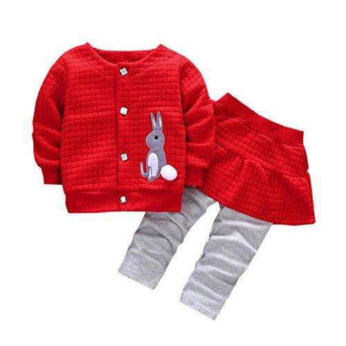 Kolylong® Kleidung mädchen 1 Set (6-24 Monate) Baby Mädchen Herbst Gedruckt Anzug (1PC Mantel+ 1PC Hose Lange) Outfits Kleiderset Suit Sweatshirt Babykleidung (90CM(12-18 Monate), Rot)