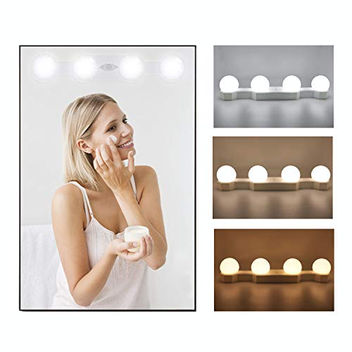 N NEWKOIN LED Spiegelleuchte Hollywood Dimmbar Lampe Tragbare Makeup Mirror Light Schminktisch Beleuchtung Spiegel Licht Schminklicht mit Schalter(Spiegel nicht enthalten)