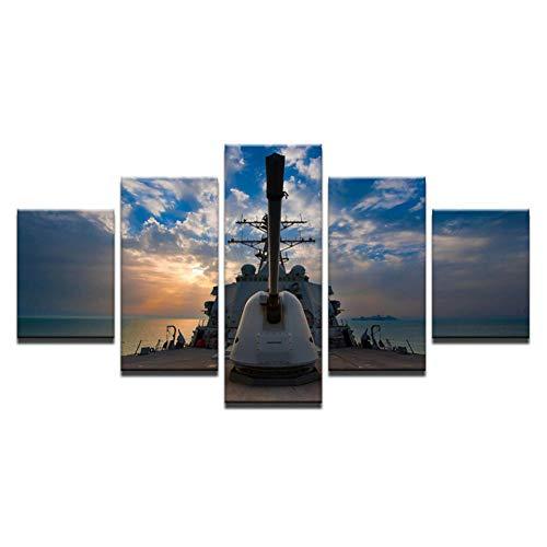 GUTONGHAO Wandkunst Leinwand Hd Drucke Gemälde Wohnkultur Wohnzimmer 5 Stücke Boot Segelschiff Seelandschaft Bilder Sonnenuntergang Posterwkl