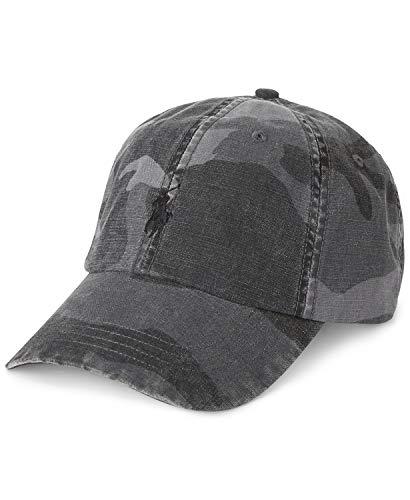 Polo Ralph Lauren Gorra de béisbol de lona de camuflaje para hombre, Grey Surplus Camo(0003)/Negro, talla única