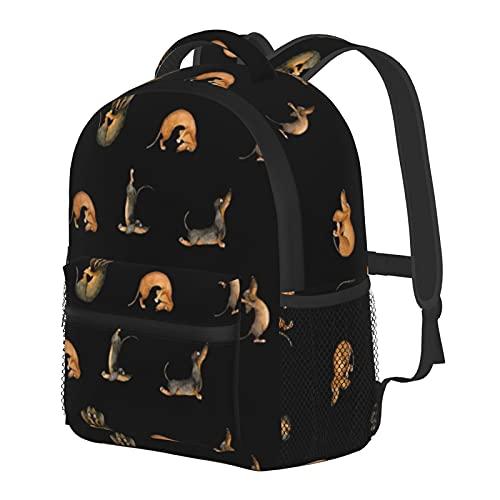 Mochila de yoga Dachshund Doxie Inga Smg para perros negros para niños y niñas, mochila escolar para jardín de infancia, preescolar, bebé, guardería, bolsa de viaje con clip para el pecho