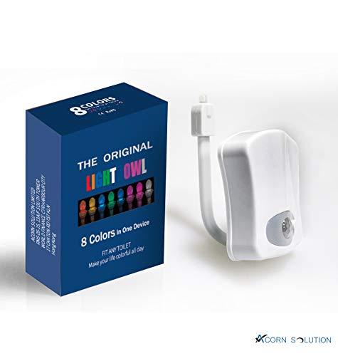 AcornSolution Toilette Nachtlicht Bewegungsmelder, Innen WC Schüssel Sitzleuchte LED für Badezimmer Waschraum, 8 Farbwechsel, batteriebetrieben (Batterie nicht enthalten)